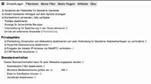 uBlock für Chrome Einstellungen